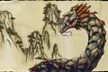 Картинка картина, бронзовый дракон, горы