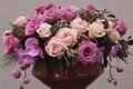 Картинка ваза, цветы, сиреневый, розы, розовый, фиолетовый, лиловый, орхидеи