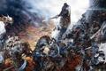 Картинка оружие, замок, доспехи, монстры, волки, битва, мечи, воины, game wallpapers, Confrontation