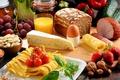 Картинка яйцо, ветчина, сыр, орехи, nuts, cheese, tomatoes, bread, grapes, клубника, виноград, мед, хлеб, strawberries, juice, ...
