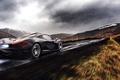 Картинка McLaren, Fire, Black, Exhaust, Clouds, Rear, Road, Supercar, Rain