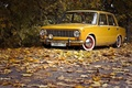 Картинка ретро, жёлтая, дорога, 2101, обои, листья, wallpaper, копейка, жигули, авто, ваз, классика, осень
