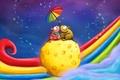 Картинка Радуга, двое, пара, мышки, зонтик, сыр, свидание