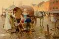 Картинка вода, дети, город, люди, улица, собака, картина, бочка, Tom Lovell, Spring Water Vendor, жанровая