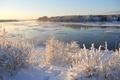 Картинка небо, снег, зима, деревья, кусты, река