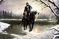 Картинка конь, снег, арт, капюшон, зима, брызги, озеро, кровь, девушка, меч, лес