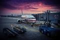 Картинка USA, самолет, рассвет, American Airlines, Chicago, аэропорт