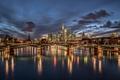 Картинка огни, мост, ночь, Германия, Франкфурт-на-Майне, дома, облака