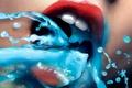 Картинка красный, вода, губы, голубой