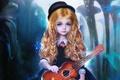 Картинка шляпа, гитара, девочка, косы, арт