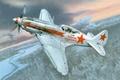 """Картинка земля, МиГ-3, зима, советский, """"За партию большевиков"""", (поздних серий), истребитель, высотный, рисунок, ВоВ, облака, небо, ..."""