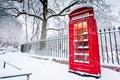 Картинка зима, забор, красная, телефонная будка