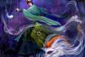 Картинка ночь, колдунья, магия, лес, девушка