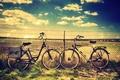 Картинка зелень, небо, трава, облака, природа, велосипед, фон, сетка, widescreen, обои, настроения, забор, проволока, ограждение, колеса, ...
