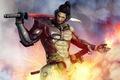 Картинка оружие, огонь, дым, меч, мужчина, броня, шрам, усмешка, Metal Gear Rising, Revengeance