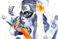 Картинка цветы, краски, пальцы, GrenoMJ, абстракция, движение, девушка, бабочка, узоры