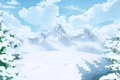 Картинка снег, арт, зима, горы, деревья, облака