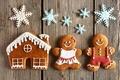 Картинка пряники, домик, снежинки, человечки