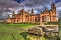 Картинка HDR, архитектура, газон, Великобритания, дворец, Glasgow, Kelvingrove Art Gallery, фонари, дорожка, дизайн