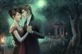 Картинка арт, парень, любовь, пара, озеро, девушка, ночь, беседка, фонарь, artsangel