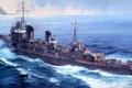 Картинка корабль, арт, флот, военный, японский, эсминец, WW2, IJN, Yukikaze