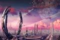 Картинка корабли, арт, сооружения, кольца, транспорт, планета, город, фантастика, камни, кратер