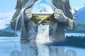 Картинка Человек, водопад, радуга