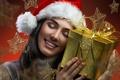 Картинка Новый Год, праздник, украшения, happy, Девушки, делать, New Year, Christmas, девушка, smile, Рождество, женщина, глаза