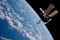 Картинка Земля, МКС, облака, прогресс