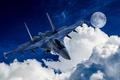 Картинка авиация, самолет, небо, планета, звезды, облака