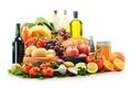 Картинка перец, помидоры, масло, картофель, овощи, сок, вино, баклажаны, хлеб, зелень, брокколи, чеснок, виноград, мёд, баночка, ...