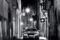 Картинка черно-белая, улица, фонари, ночь, Audi
