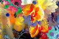 Картинка цветы, рендеринг, краски, сад, линии, лепестки, луг, растение