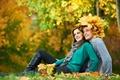 Картинка осень, девушка, природа, отдых, листва, пара, парень, улыбки