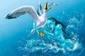 Картинка рисунок, русалка, чайка, 155