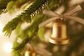 Картинка happy new year, новый год, праздник, колокольчик, новогодние обои, елочные украшения