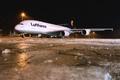 Картинка Зима, Ночь, Самолет, Лед, Аэропорт, A380, Lufthansa, Airbus, Авиалайнер