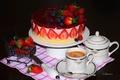 Картинка ягоды, торт, малина, голубика, кофе, клубника