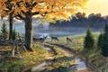 Картинка A Bend in the Road, грунтовая дорога, живопись, лужи, озеро, олени, осенние листья, осень, Al ...
