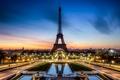 Картинка дорога, закат, город, огни, Франция, Париж, вечер, выдержка, освещение, фонари, Эйфелева башня, Paris, фонтаны, France, ...