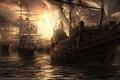Картинка баталия, корабли, пушки
