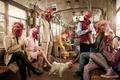 Картинка рендеринг, петух, курицы, люди, вагон, метро