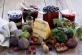 Картинка ягоды, малина, сыр, натюрморт, джем, инжир