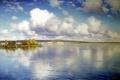 Картинка картина, отражение, деревья, берег, Крыжицкий, живопись, озеро, вода, облака, небо, пейзаж