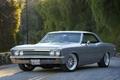 Картинка серый, шевелле, малибу, coupe, дорога, 1967, Chevelle, купе, Malibu, grey, вид сбоку, шевроле, Chevrolet, лес
