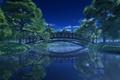 Картинка деревья, пейзаж, ночь, мост, парк, река, фонари
