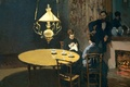 Картинка стол, лампа, картина, Клод Моне, жанровая, Интерьер. После Ужина