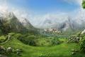 Картинка Замок, Дерево, Фантастика, Пейзаж, Гора, Водопад