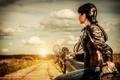 Картинка дорога, мотоцикл, девушка, закат