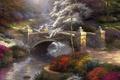 Картинка bridge, мост, мостик, природа, painting, живопись, Томас Кинкейд, речка, красочная, Bridge Of Hope, nature, Thomas ...